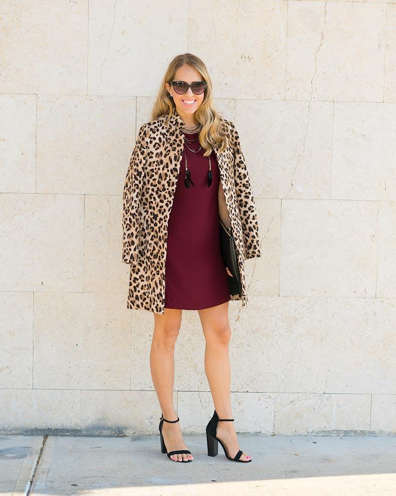 Burgundy ruffle dress, leopard coat