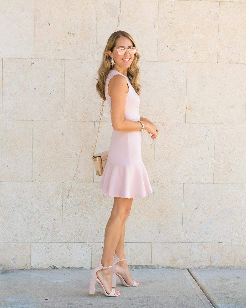 Blush pink drop waist dress
