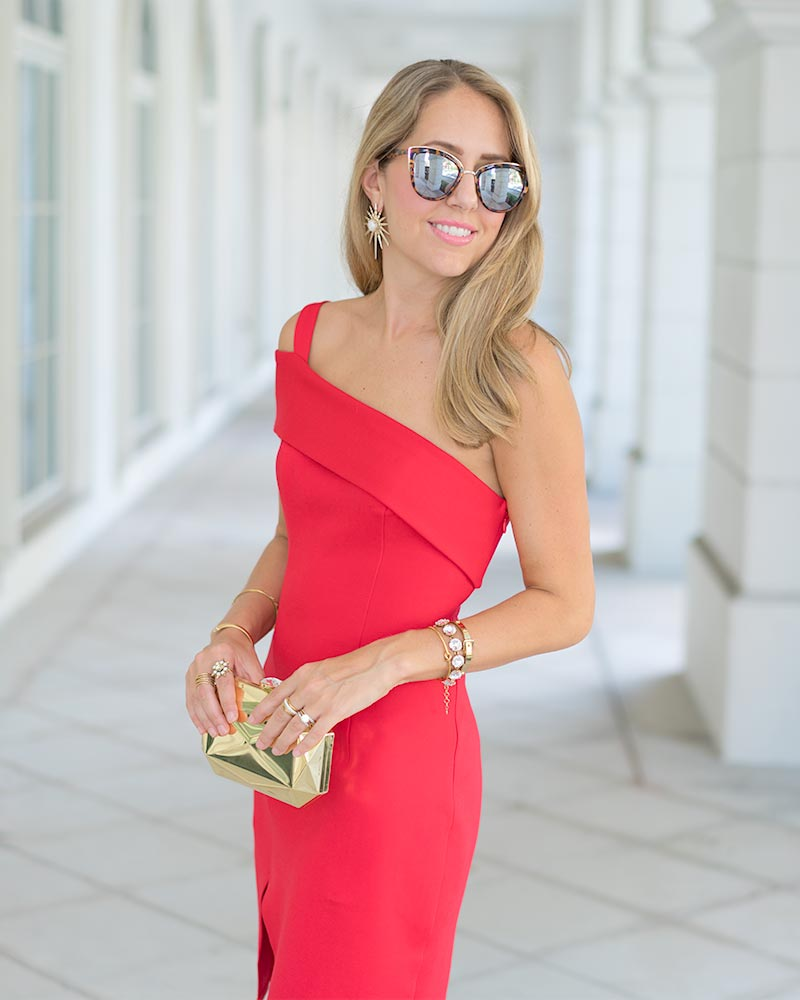 Red cocktail dress, $49
