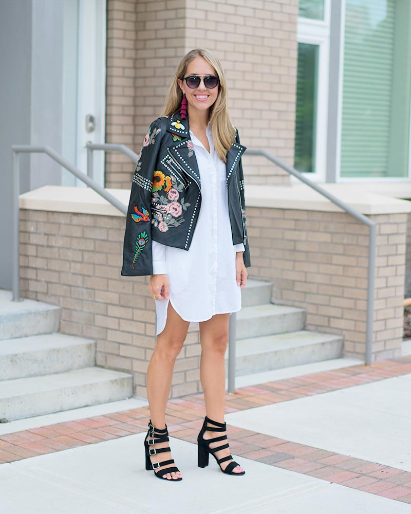 Embroidered studded leather jacket, white shirt dress