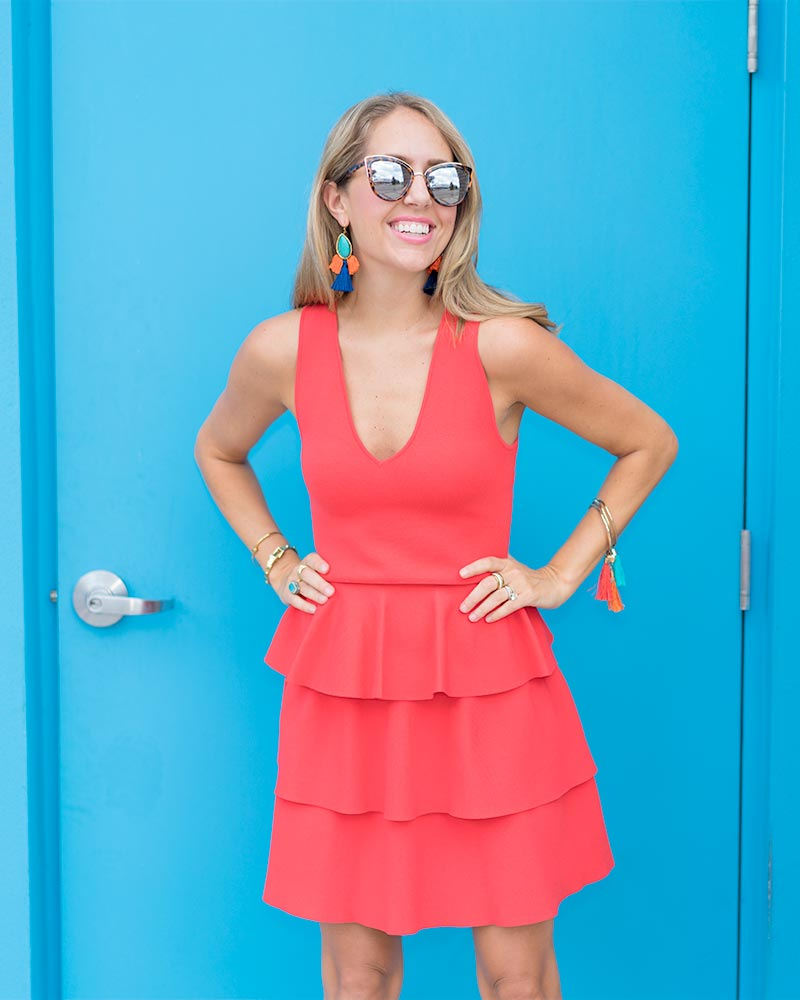 Red ruffle dress, tassel earrings