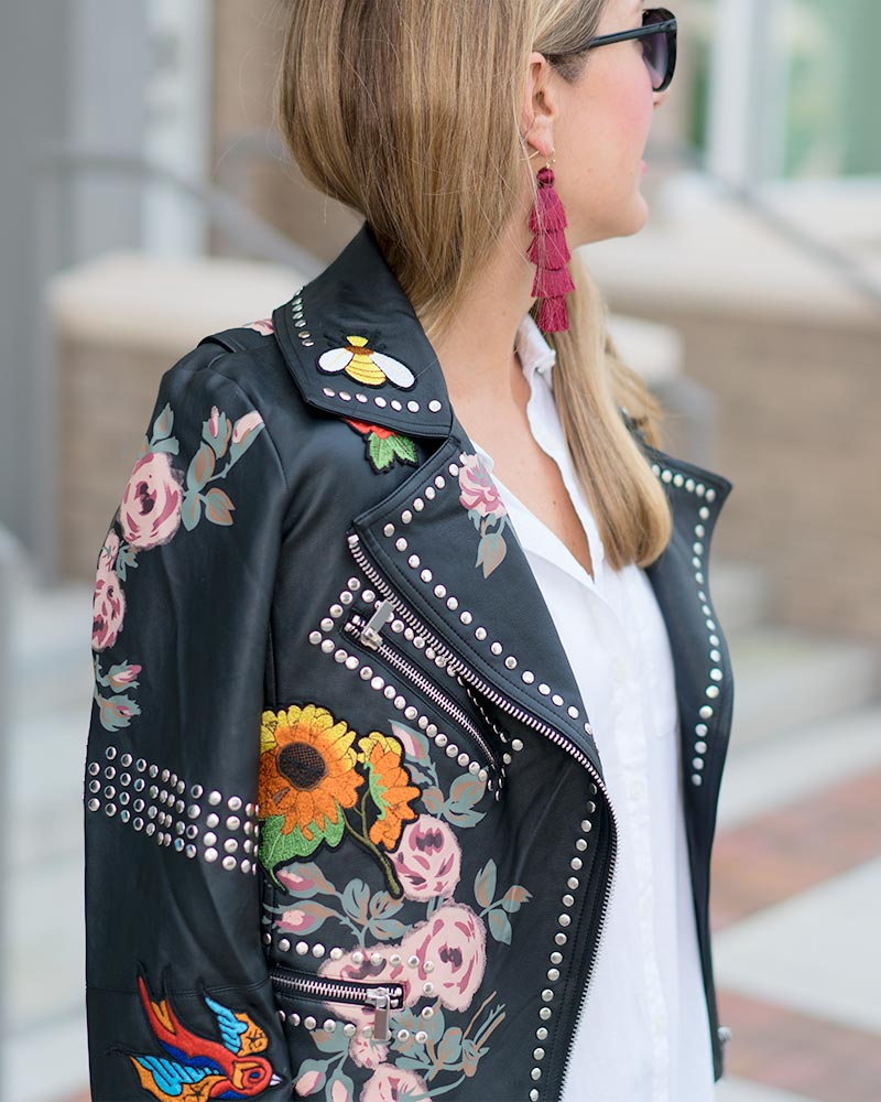 Embroidered studded leather jacket, burgundy earrings