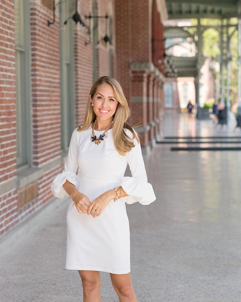 White bell sleeve dress for work