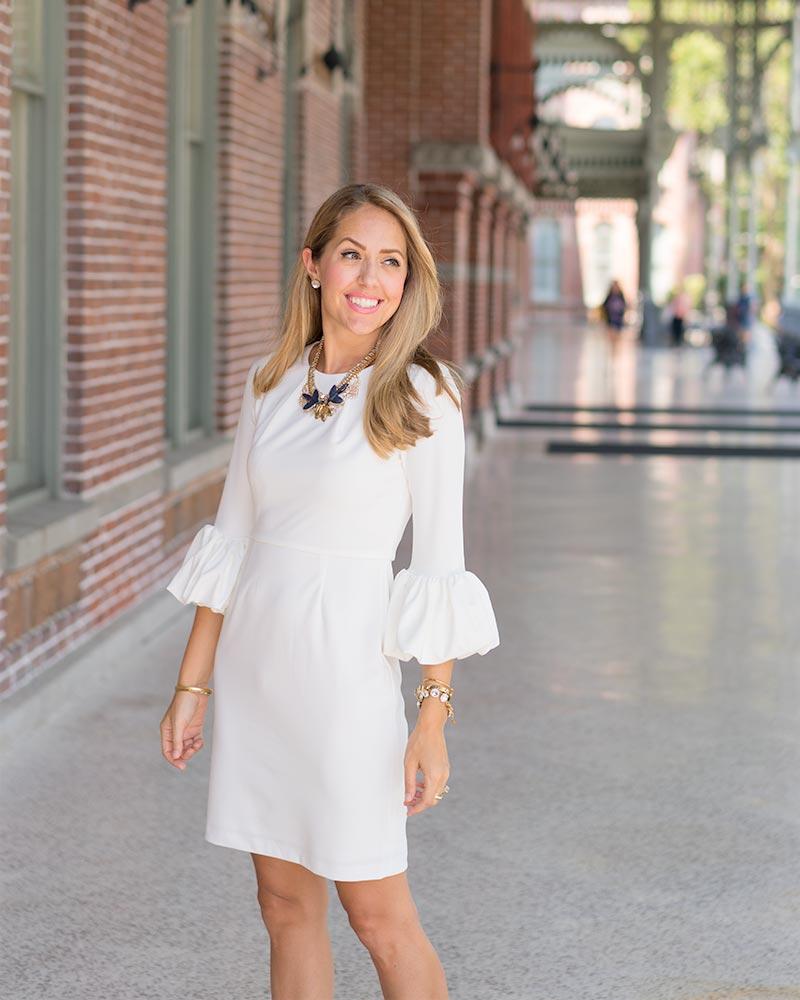 White bell sleeve dress for work