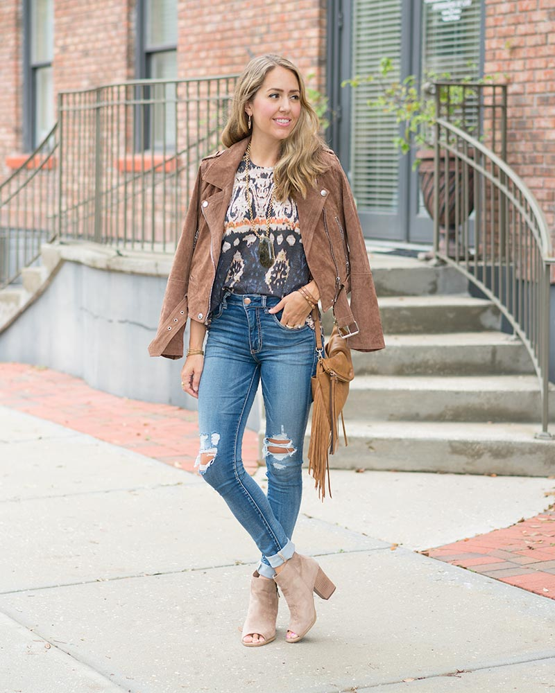 Boho outfit: Blanknyc suede jacket
