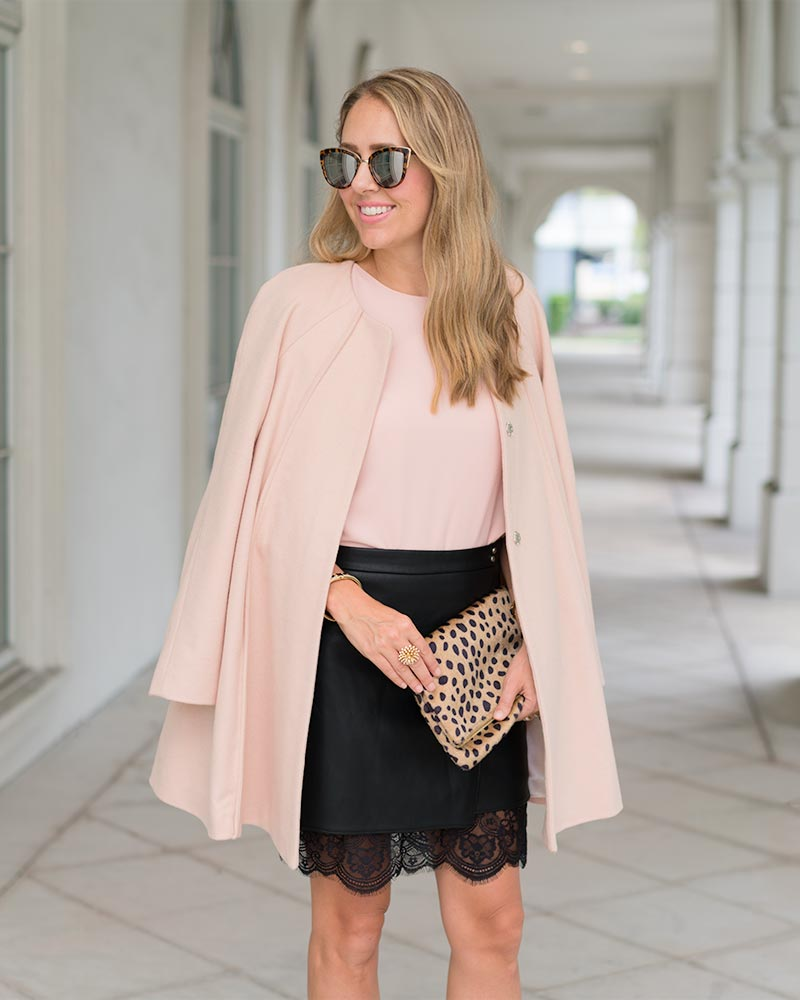 Blush pink coat, leather skirt, leopard clutch