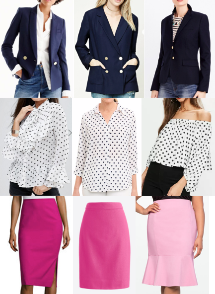 Navy blazer, polka dots, pink pencil skirt