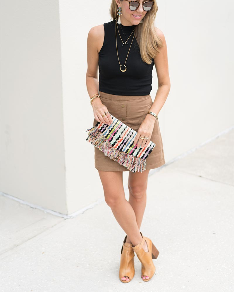 Suede skirt, boho outfit