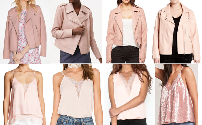 Blush pink moto, lace trim top