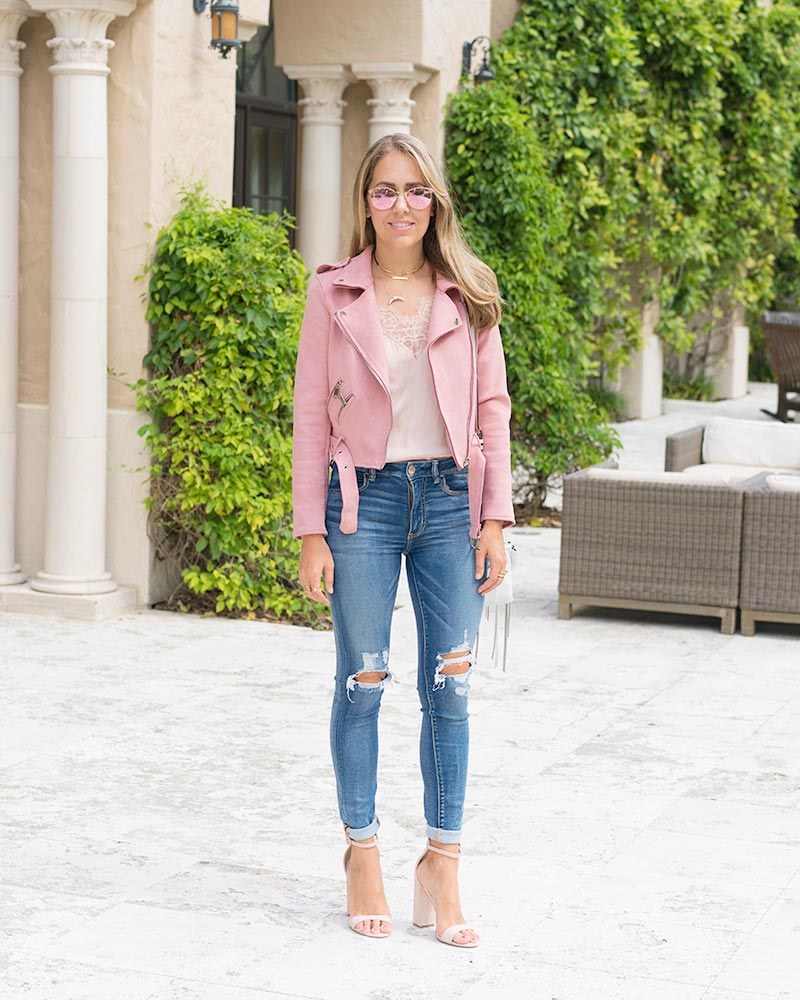 Blush pink moto, lace trim top