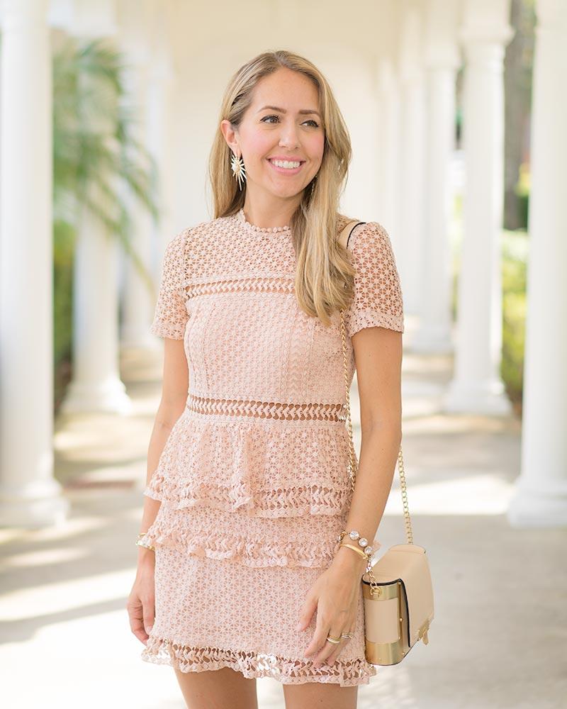 Short sleeve blush pink textured dress