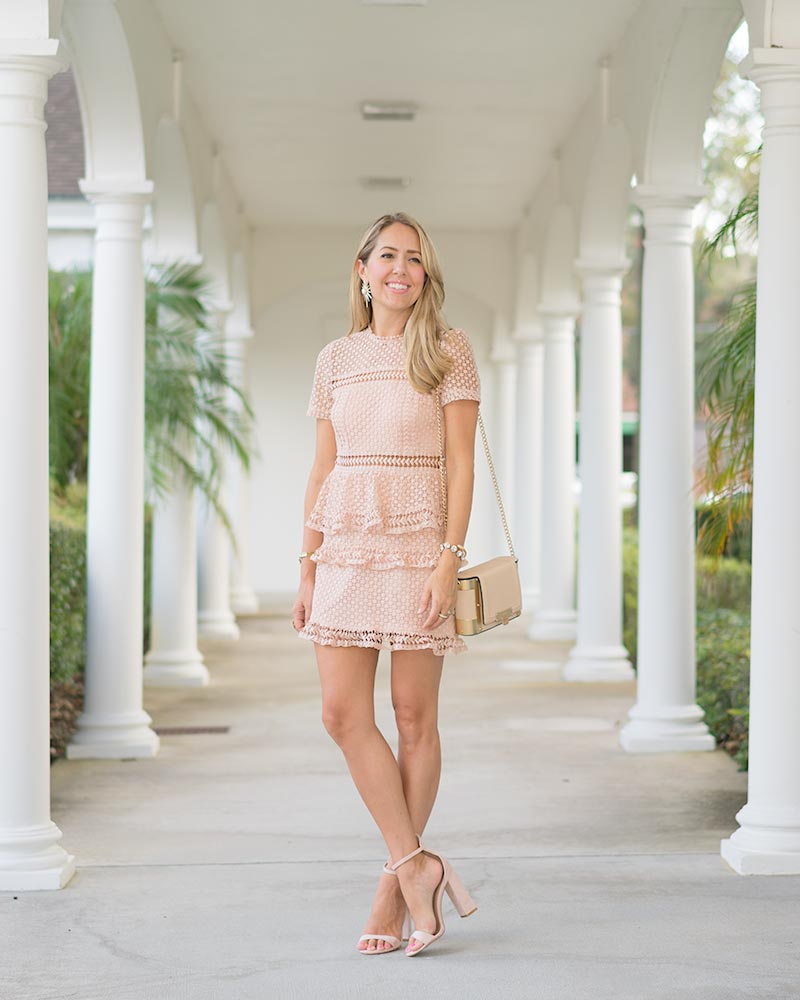 Short sleeve blush pink textured dress