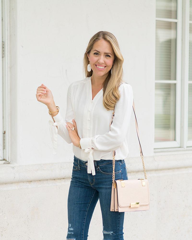 Ivory Lark & Ro blouse, Levi's jeans