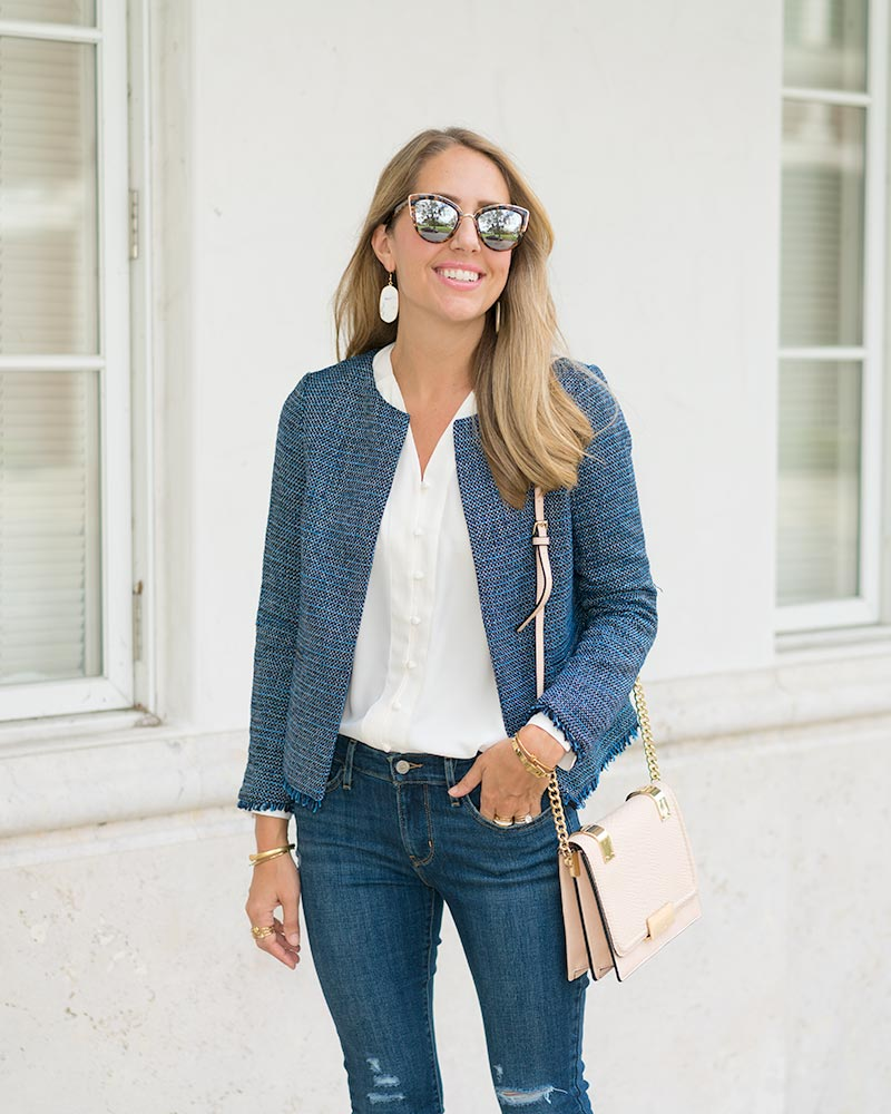 Ivory Lark & Ro blouse, tweed jacket, Levi's jeans