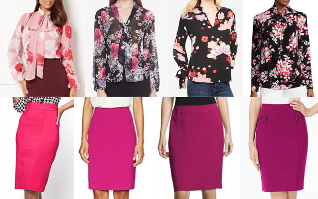 Floral bow blouse with pink pencil skirt