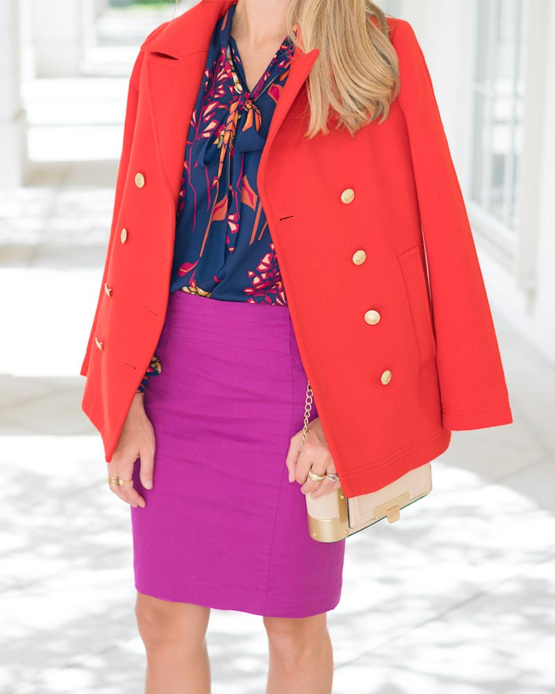 Red coat, pencil skirt
