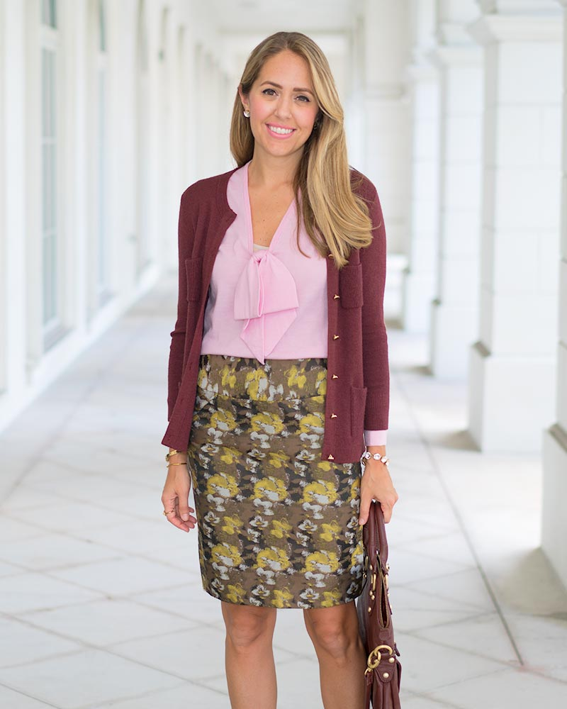 Brocade pencil skirt, burgundy cardigan