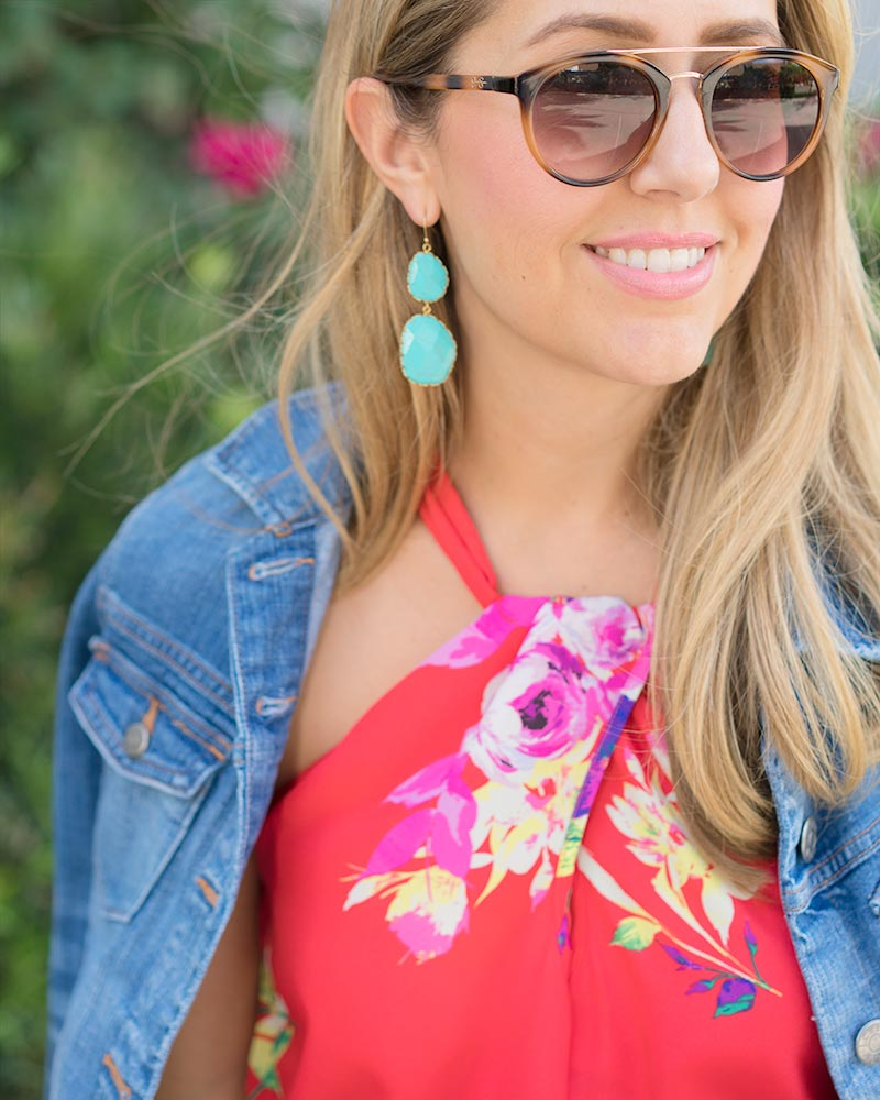 Turquoise earrings, red floral dress