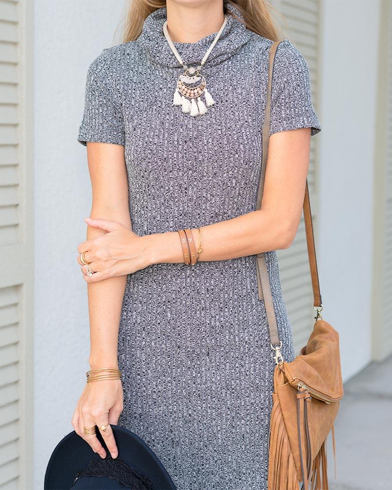 Gray sweater dress, boho