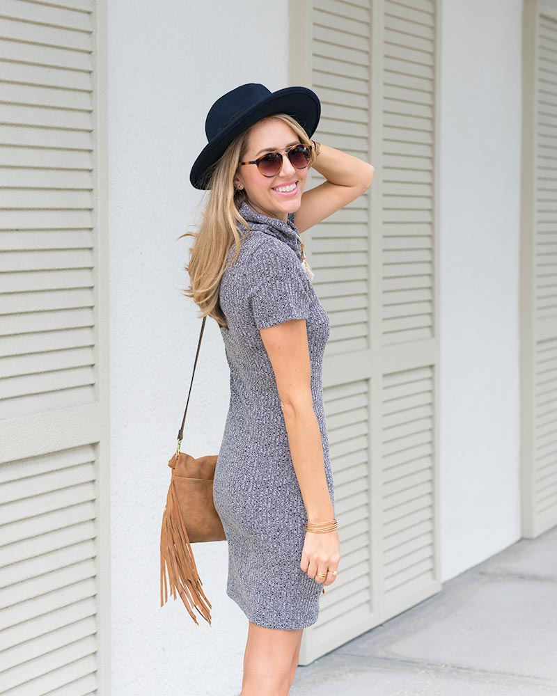 Gray sweater dress, boho