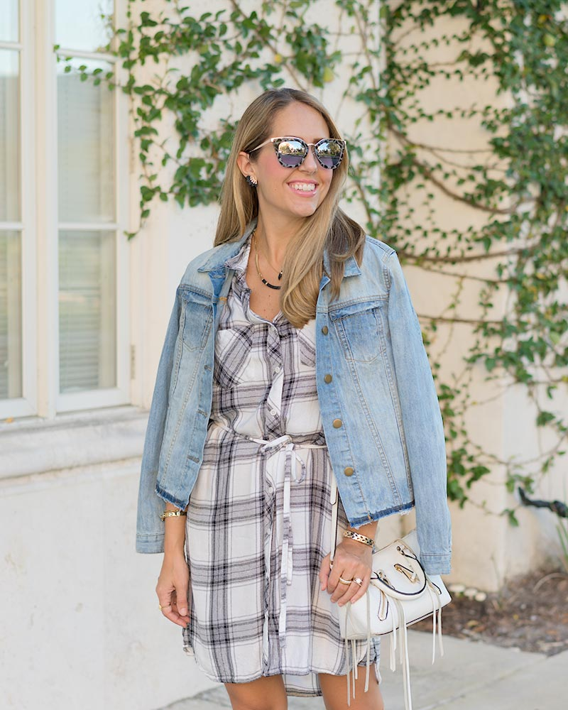 Plaid shirt dress, denim jacket