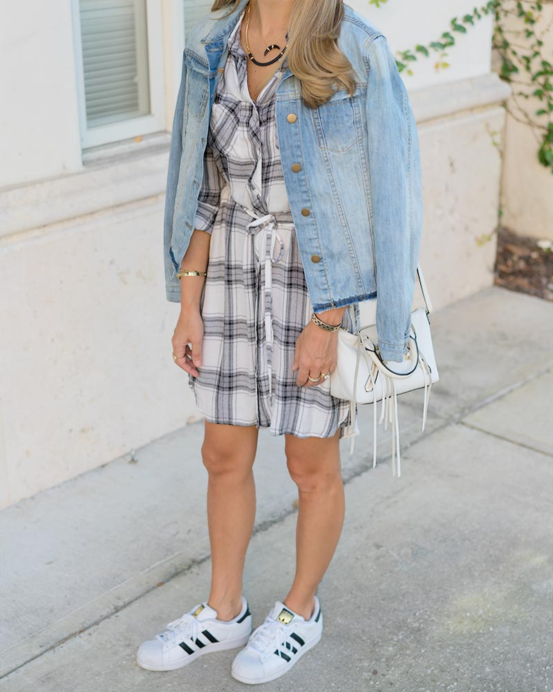 Plaid shirt dress, denim jacket, sneakers