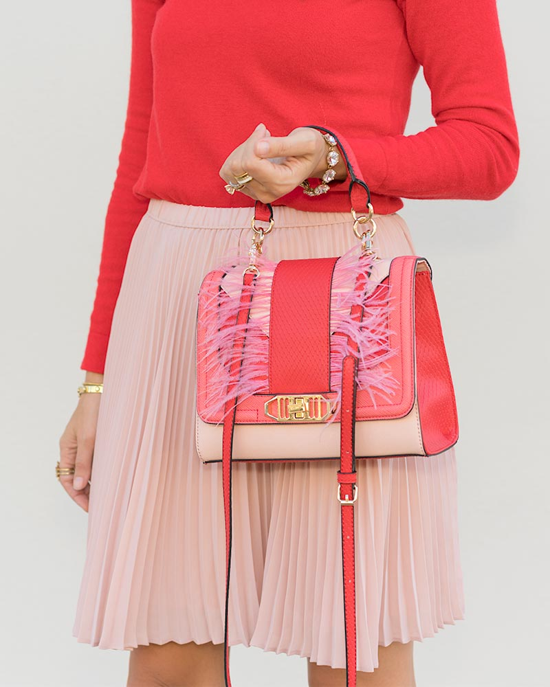 Red pink outfit, Aldo purse