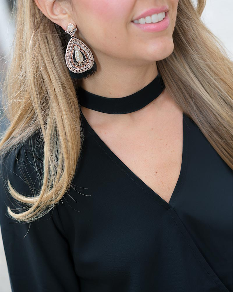 Choker top, statement earrings