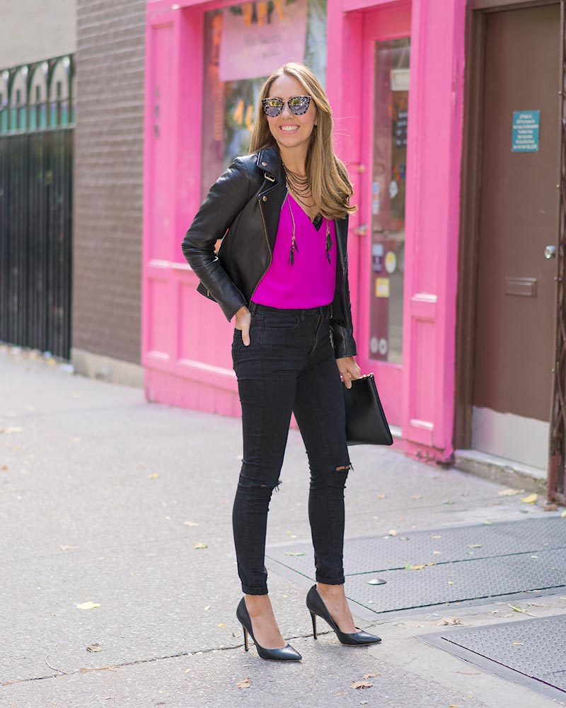 Leather jacket, hot pink, lace trim, black jeans