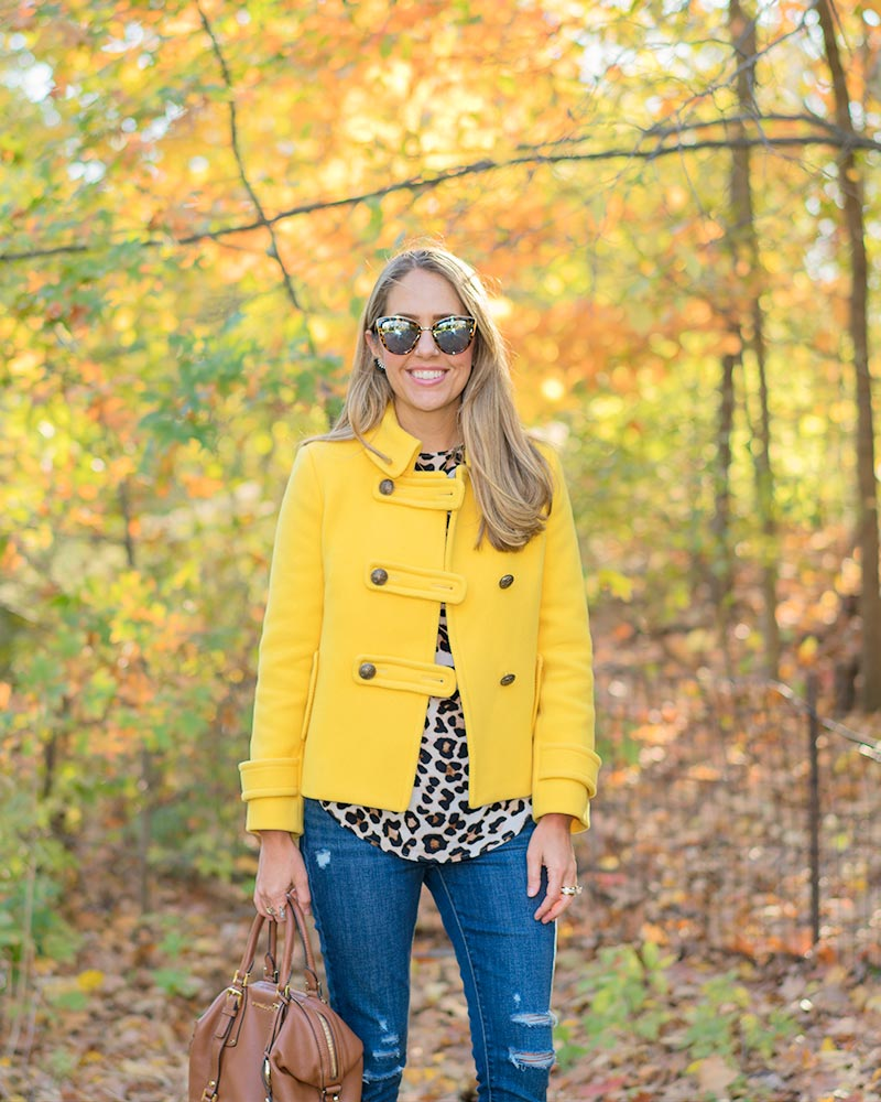 Yellow coat, leopard print