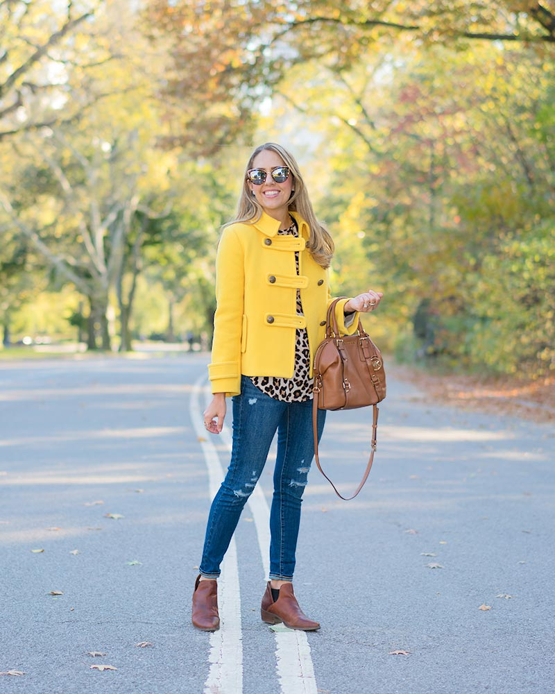 Yellow coat, leopard print, Central Park