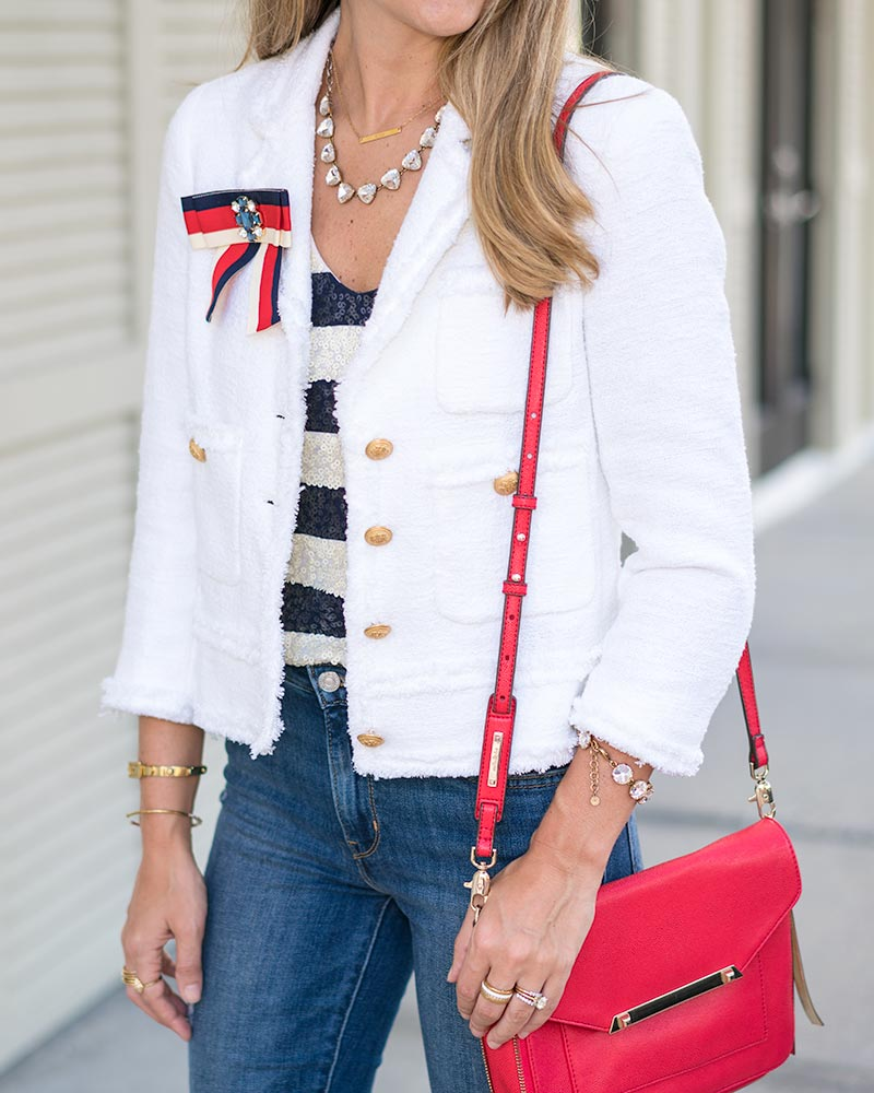 Tweed jacket, red, white and blue outfit