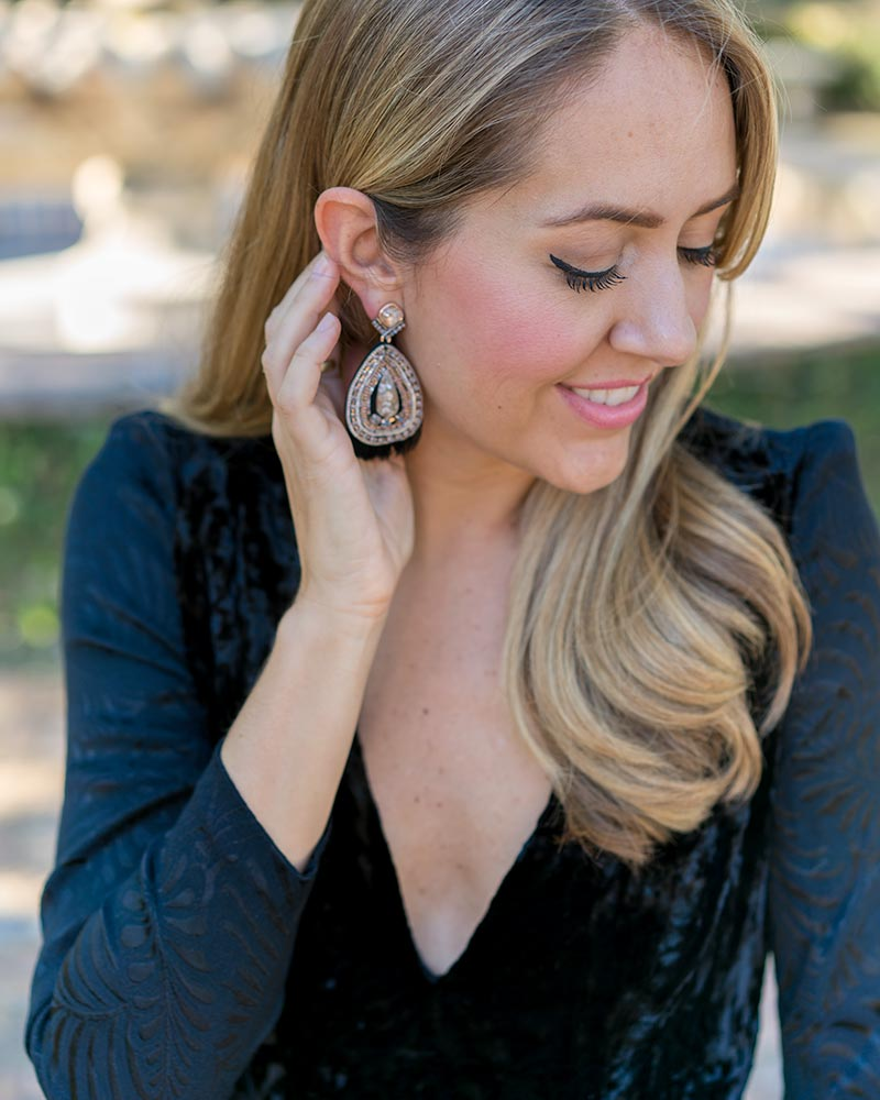 Velvet long sleeve dress, statement earrings