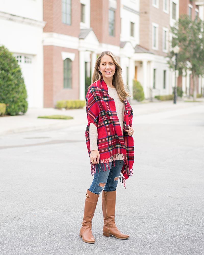 Mud Pie red plaid scarf