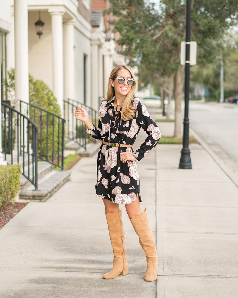 Mud Pie floral dress, over the knee boots