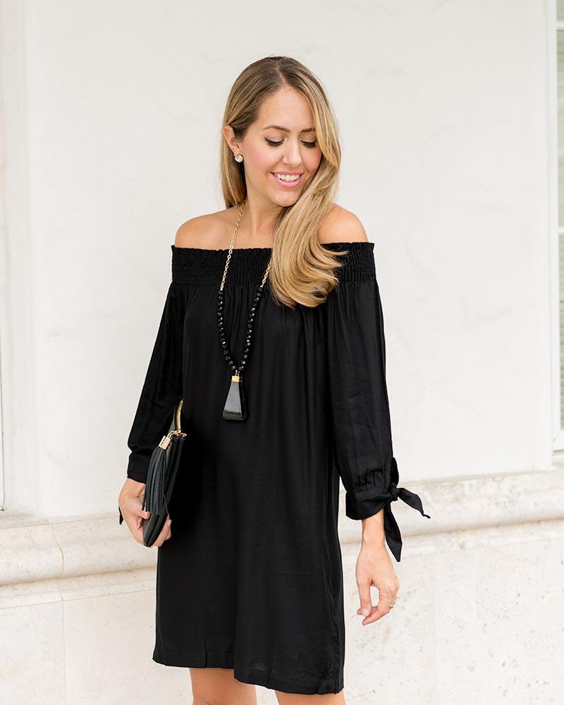 Mud Pie off shoulder black dress