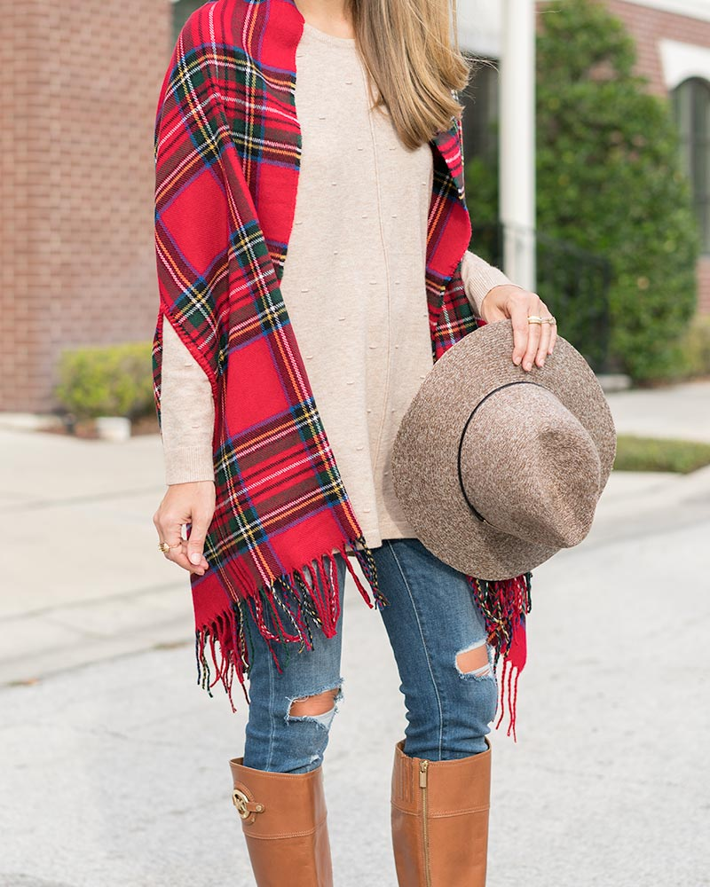 Mud Pie red scarf, oatmeal tunic