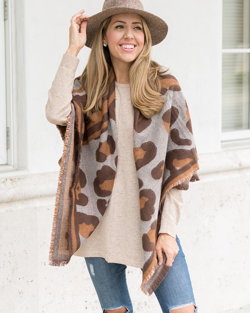 Mud Pie leopard scarf, oatmeal tunic