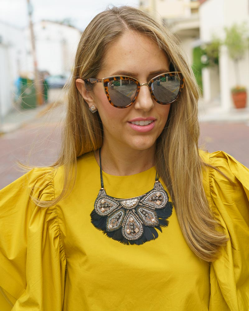 Yellow ruffle sleeve dress, Stella & Dot Constantine