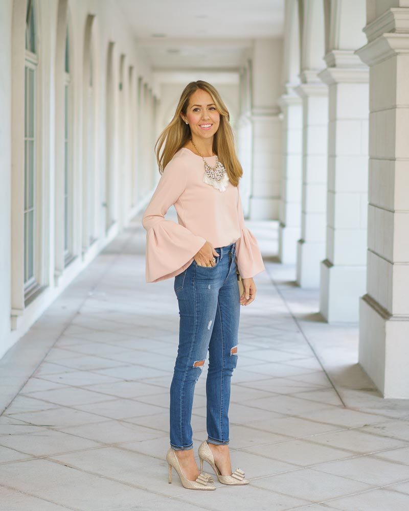 Blush pink statement sleeve LOFT