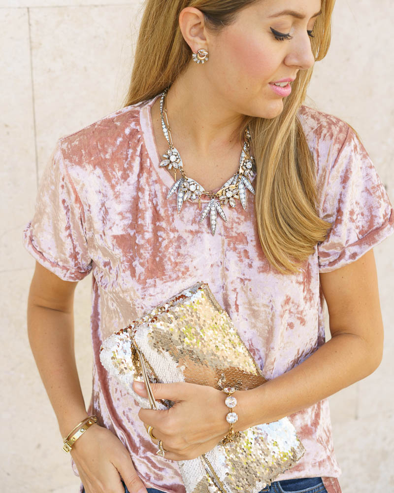 Blush velvet, sequin clutch
