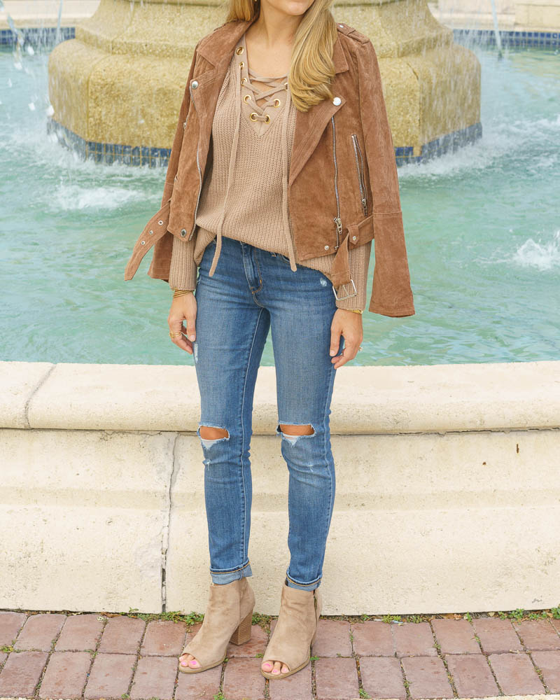 Lace up sweater, suede jacket