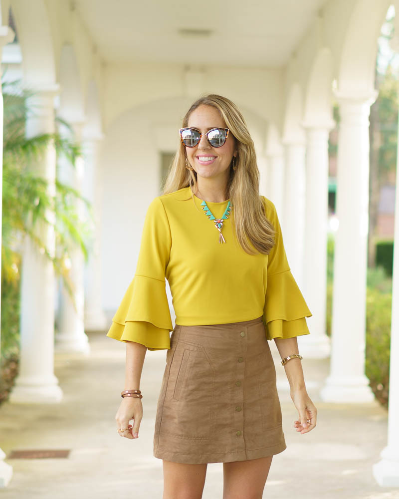 Yellow bell sleeve, suede skirt