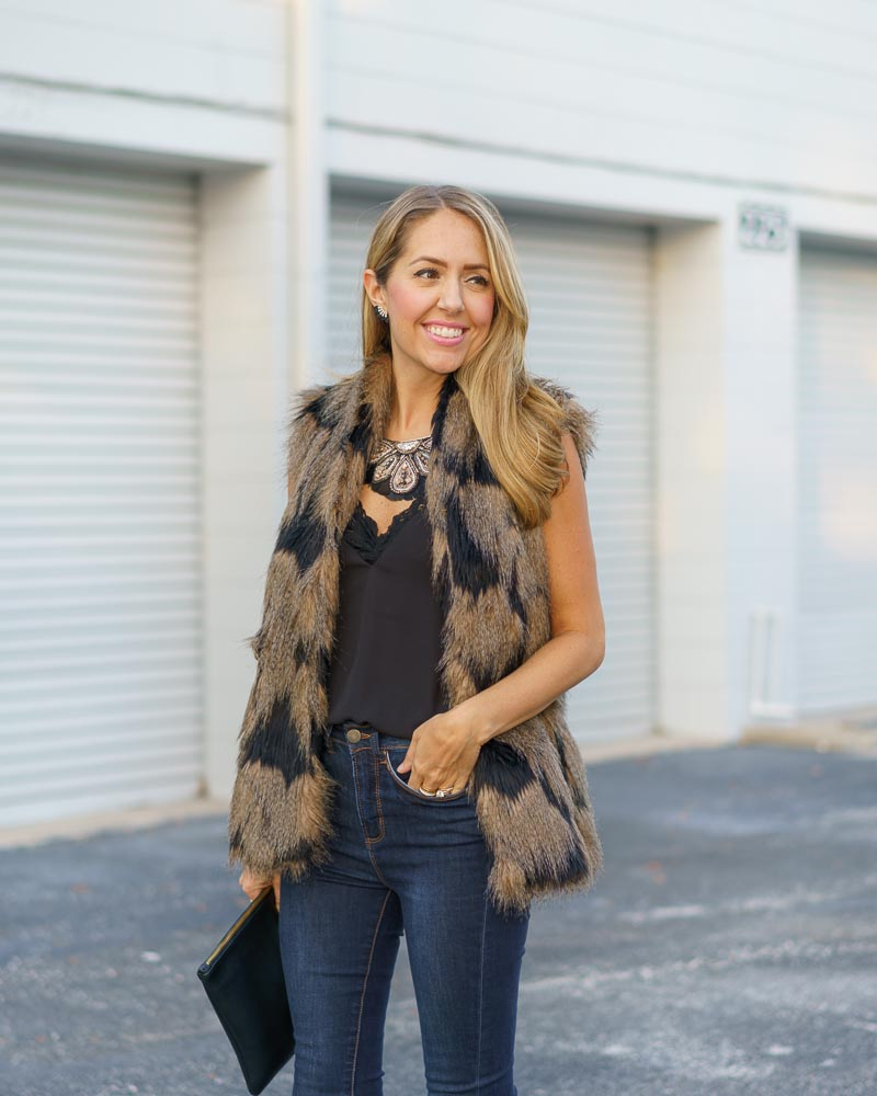 Faux fur vest, statement necklace