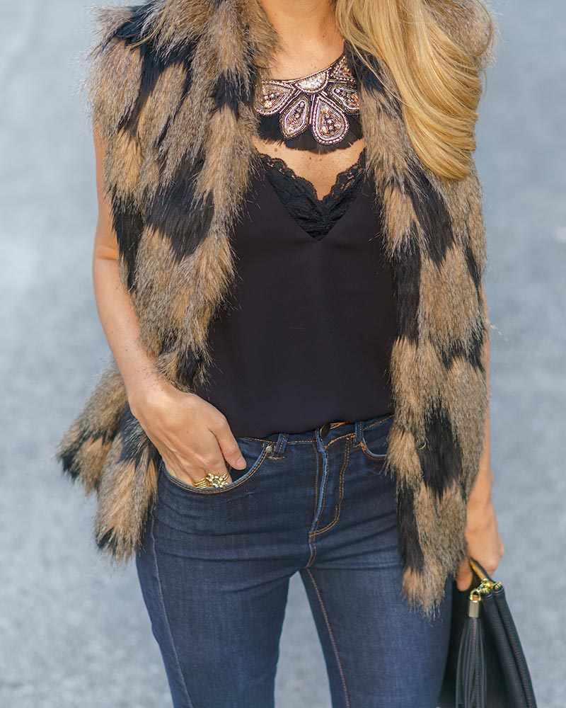 Faux fur vest, Constantine statement necklace