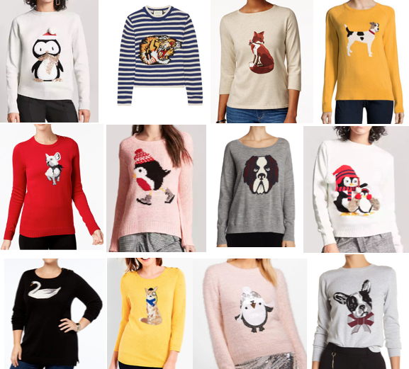 Animal graphic sweaters