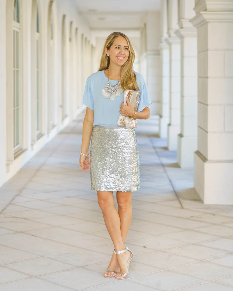 Holiday office party: icy blue top, sequin skirt