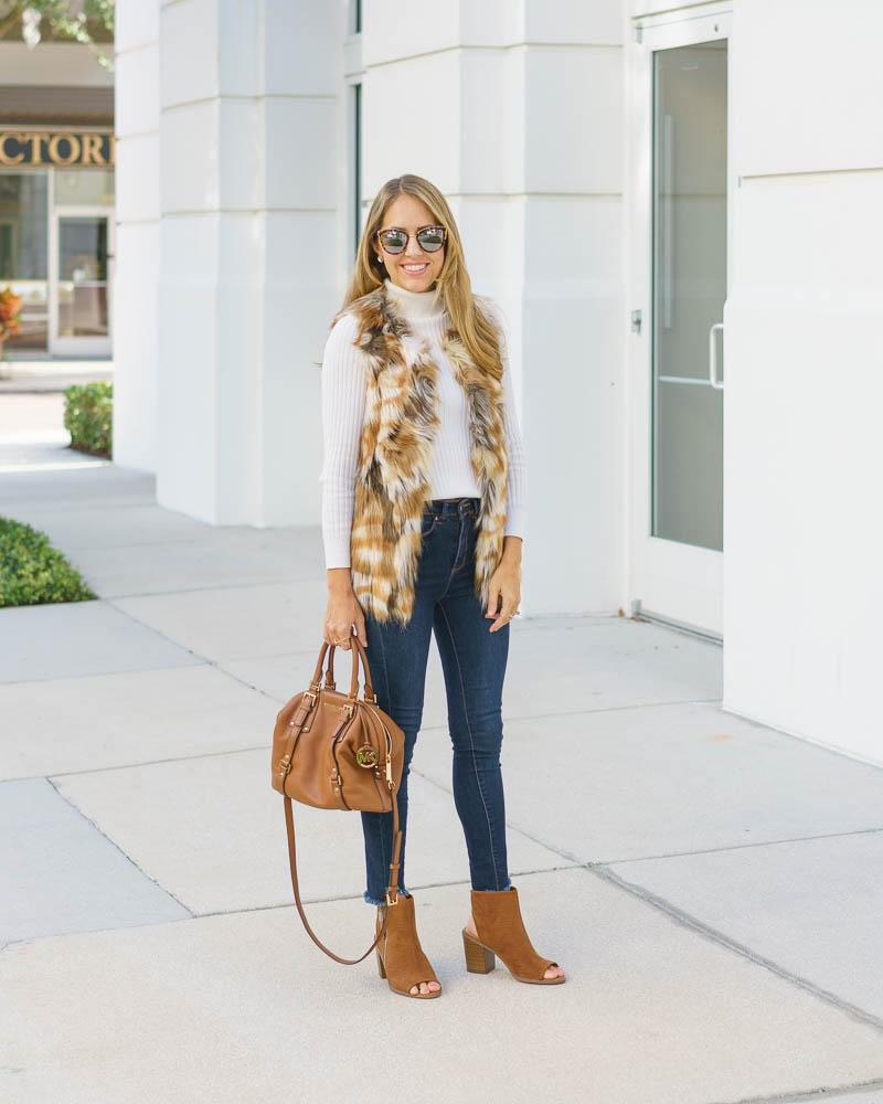 Faux fur vest, skinny jeans, ankle boots