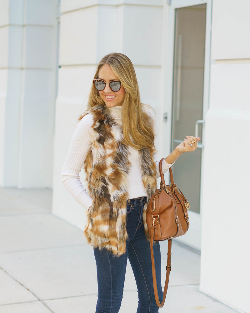 Faux fur vest, turtleneck