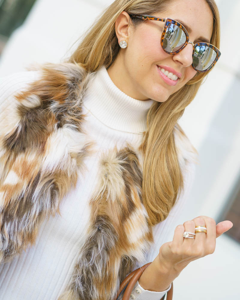 Faux fur vest, ivory turtleneck